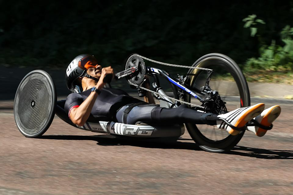 Will Groulx competes in the MH2 14.3 km Course time trial during the 2021 U.S. Paralympic Trials.