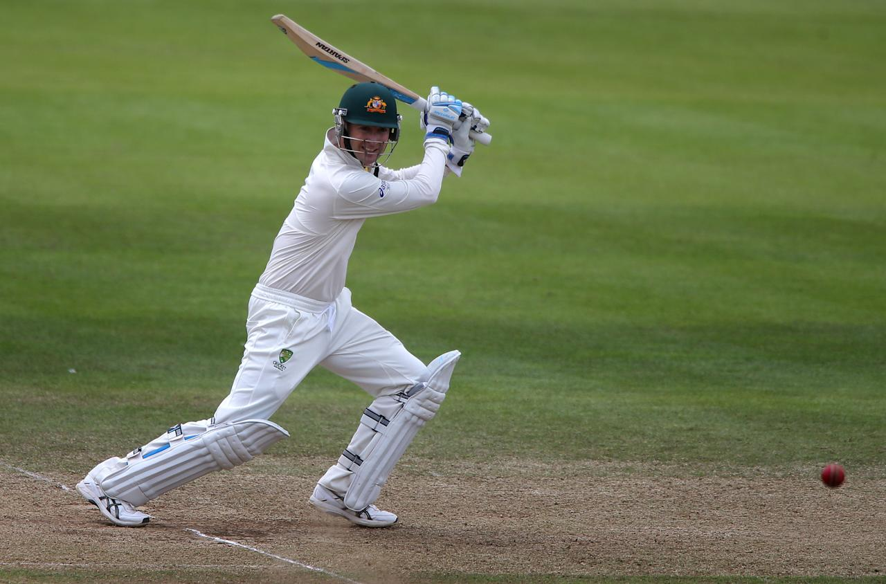 Australia captain Michael Clarke scores during his innings of 45 during the International Tour match at the County Ground, Taunton.