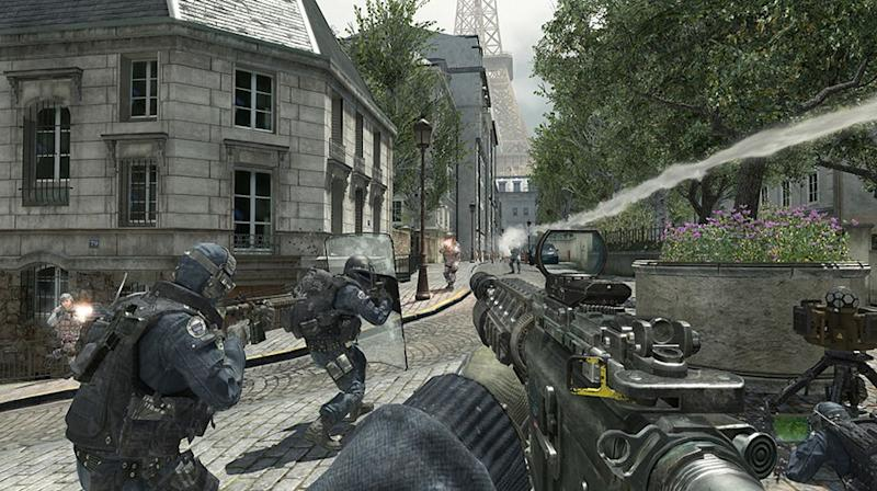 """FILE - In this file video game image released by Activision, special forces try to repel a Russian invasion of Paris in """"Call of Duty: Modern Warfare 3."""" The world was reminded of this Thursday, April 19, 2012 when Anders Behring Breivik revealed to an Oslo court that the popular military game and the online role-playing game """"World of Warcraft"""" helped condition him for his bombing and shooting rampage that left 77 people dead last summer in Oslo and at a Labor Party youth camp on Utoya island. (AP Photo/Activision, File)"""