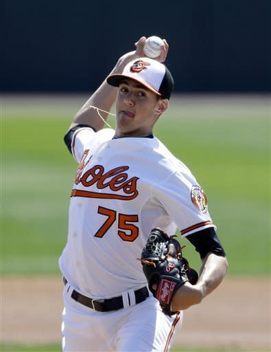 Baltimore Orioles starting pitcher Kevin Gausman (75) throws during the first inning of an exhibition spring training baseball game against the Tampa Bay Rays, Thursday, March 14, 2013 in Sarasota, Fla. (AP Photo/Carlos Osorio)