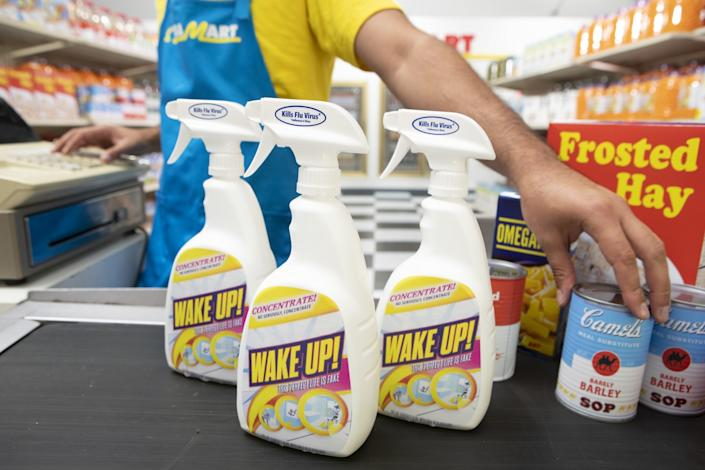"""Some of the products found in the Omega Mart, such as Wake Up Cleaner. <span class=""""copyright"""">(Meow Wolf)</span>"""
