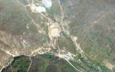 A satellite photo of the Punggye-Ri nuclear test site in North Korea May 14, 2018.     Planet Labs Inc/Handout via REUTERS
