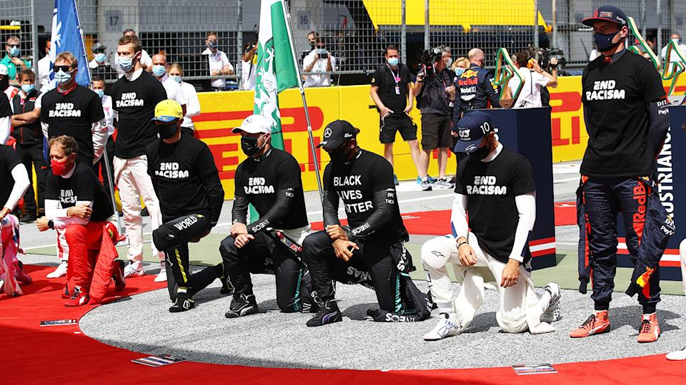 F1 drivers, pictured here before the Styrian Grand Prix.