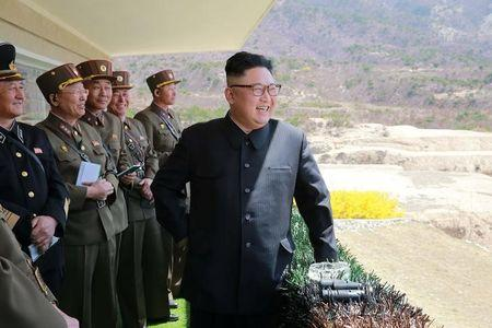 North Korean Leader Kim Jong Un observes a target-striking contest by the Korean People's Army (KPA) in this undated photo, released by North Korea's Korean Central News Agency (KCNA), April 13, 2017. REUTERS/KCNA/Files