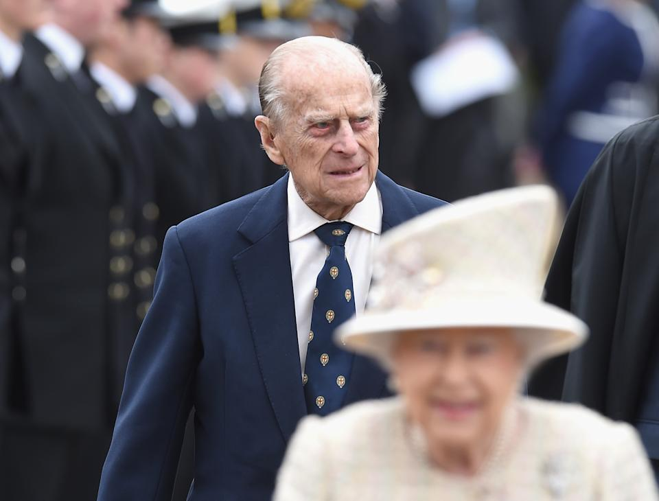 PANGBOURNE, ENGLAND - MAY 09:  Queen Elizabeth II and Prince Philip, Duke of Edinburgh visit Pangbourne College on the occasion of the school's centenary on May 9, 2017 in Pangbourne, England. Founded in 1917 as a training college for officers of the merchant navy, Pangbourne College is now a co-educational boarding and day school for 400 pupils aged between 11-18  (Photo by Stuart C. Wilson/Getty Images)