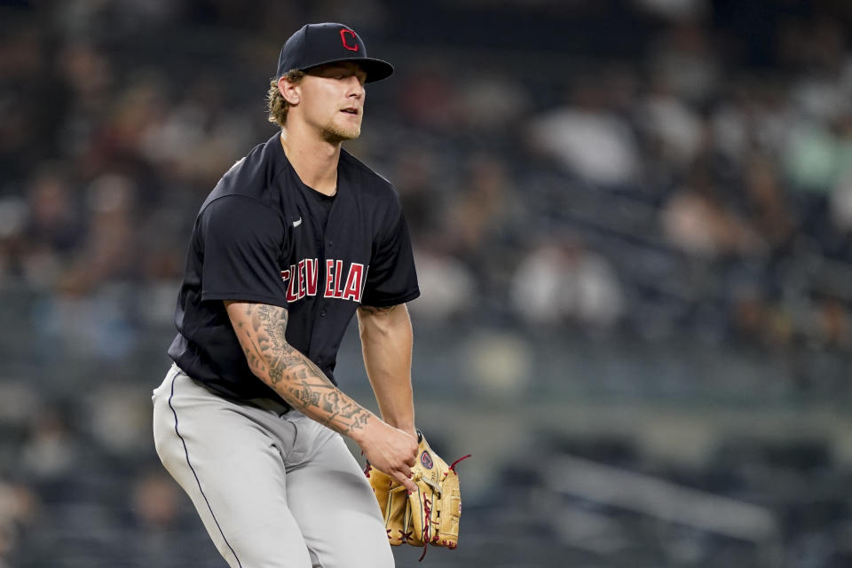 Cleveland Indians starting pitcher Zach Plesac reacts to the call on a pitch during the second inning of the team's baseball game against the New York Yankees, Friday, Sept. 17, 2021, in New York. (AP Photo/John Minchillo)