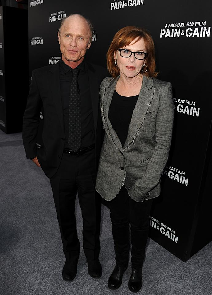 """Ed Harris and Amy Madigan arrive at the premiere of Paramount Pictures'""""Pain & Gain"""" at TCL Chinese Theatre on April 22, 2013 in Hollywood, California.  (Photo by Kevin Winter/Getty Images for Paramount Pictures)"""