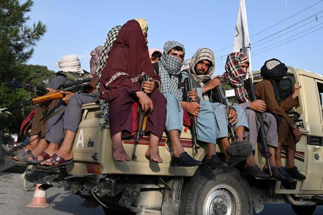 Taliban fighters in a vehicle patrol the streets of Kabul on August 23, 2021 (Photo: WAKIL KOHSAR via Getty Images)