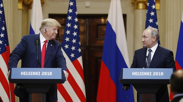 Donald Trump and Vladimir Putin at Helsinki summit press conference (Photo: Associated Press)