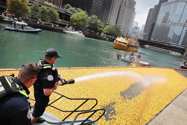 <p>A fire hose is used to help guide rubber ducks down the Chicago River during the Windy City Rubber Ducky Derby on August 3, 2017 in Chicago, Illinois. (Photo: Scott Olson/Getty Images) </p>