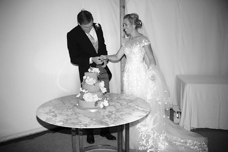 I used a marble Art Deco table from the house for the cake rather than a white cloth.