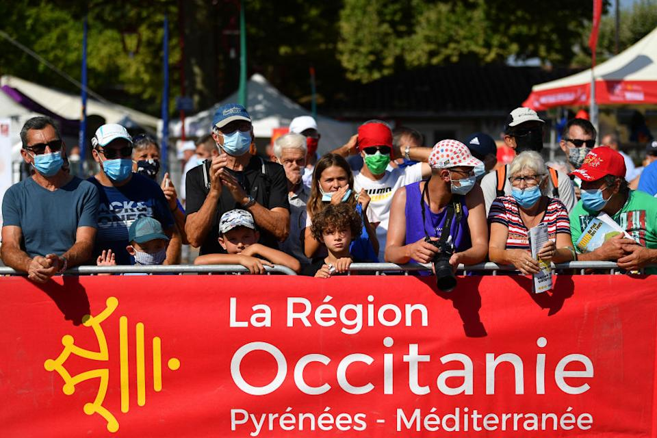 BEZIERS FRANCE  AUGUST 01 Start  Public  Fans  Covid Safe measures  during the 44th La Route dOccitanie  La Depeche du Midi 2020 Stage 1 a 187km stage from Saint Affrique to Cazouls ls Bziers  RouteOccitanie  RDO2020  on August 01 2020 in Beziers France Photo by Justin SetterfieldGetty Images