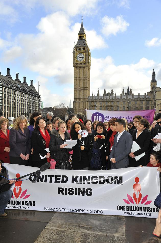 <p>Thandie Newton at the launch of One Billion Rising with Jahmene Douglas, Yvette Cooper and Ruby Wax (Ray Tang/Rex Features)</p>