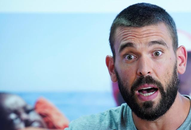Spanish basketball player Marc Gasol, who plays for NBA's Memphis Grizzlies, attends a news conference with NGO Proactiva Open Arms in Palma de Mallorca, Spain July 21, 2018. REUTERS/Juan Medina
