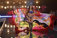 <p>Puerto Rican Joan Smalls brought her psychedelic cape to new heights — quite literally — with a masterful flick of the wrist (and with the help of a powerful wind machine). </p>