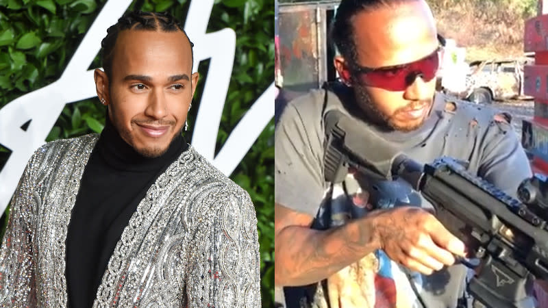 Lewis Hamilton is hard at work training for his first action movie role. (Credit: Stephane Cardinale/Corbis via Getty Images/Instagram)