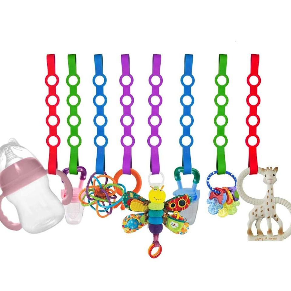 "These handy accessories will help keep pacifiers, toys and bottles from falling on the ground, getting lost or becoming dirty. Plus, they cut down on how much bending down and crawling around you'll have to do.<br /><br /><strong>Promising review:</strong> ""My son is like any kid out there. Loves throwing toys and bottles and water. You name it. He loves to throw it all. He especially finds it hilarious when mommy and daddy have to get the toys and stuff over and over. This is awesome! <strong>Easy to clean easy to use and if he bites it, it won't rip or anything. Perfectly safe.</strong> Definitely wash before use! Keeps bottles and water from falling. I've used it on his tablet too! It's awesome! I have nothing bad to say except this is A MUST BUY! It will save you the headaches and the wondering where everything went."" — <a href=""https://amzn.to/3mUPKZV"" target=""_blank"" rel=""nofollow noopener noreferrer"" data-skimlinks-tracking=""5669346"" data-vars-affiliate=""Amazon"" data-vars-href=""https://www.amazon.com/gp/customer-reviews/R36GN6S395WVXZ?tag=bfjohn-20&ascsubtag=5669346%2C2%2C22%2Cmobile_web%2C0%2C0%2C0"" data-vars-keywords=""cleaning"" data-vars-link-id=""0"" data-vars-price="""" data-vars-retailers=""Amazon"">Glamorous Mama</a> <br /><br /><strong>Get it from Amazon for <a href=""https://amzn.to/3mO1A8i"" target=""_blank"" rel=""nofollow noopener noreferrer"" data-skimlinks-tracking=""5669346"" data-vars-affiliate=""Amazon"" data-vars-asin=""B07HMLH48D"" data-vars-href=""https://www.amazon.com/dp/B07HMLH48D?tag=bfjohn-20&ascsubtag=5669346%2C2%2C22%2Cmobile_web%2C0%2C0%2C7256037"" data-vars-keywords=""cleaning"" data-vars-link-id=""7256037"" data-vars-price="""" data-vars-product-id=""16453831"" data-vars-product-img=""https://m.media-amazon.com/images/I/51HGE9HwPNL.jpg"" data-vars-product-title=""Baby Toy Straps, 8 Pack Stretchable Silicone Pacifier Clips Baby Toddler Toy Bottle Harness Straps for Strollers,Highchair,Shopping Trolley,Cars,Hanging Baskets,Cribs,Bags"" data-vars-retailers=""Amazon"">$9.99+</a> (available in five- or eight-packs).</strong>"