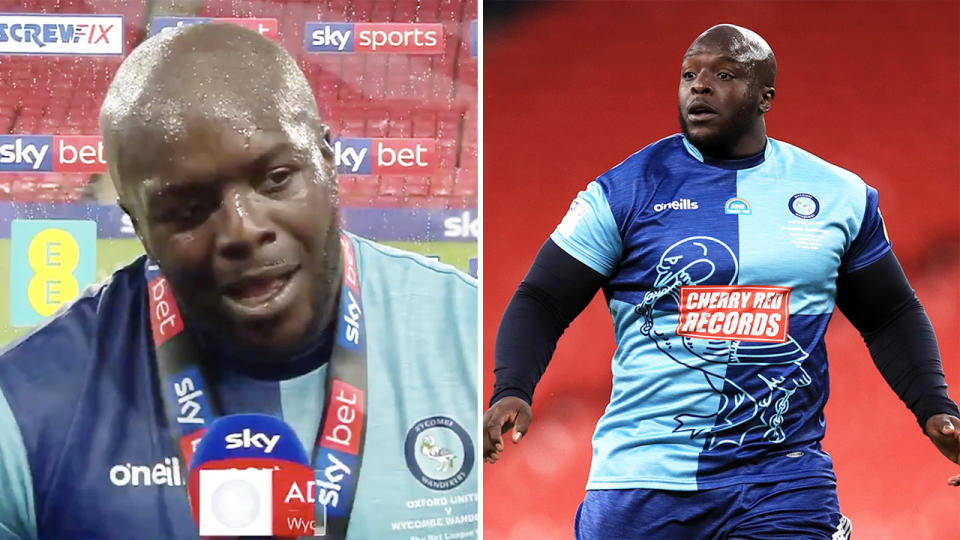 Adebayo Akinfenwa, also known as 'The Beast', made an all-time speech and received a shock from Liverpool coach Jurgen Klopp after he helped Wycombe reach The Championship for the first time in 133 years. (Images: Sky Sports/Getty Images)