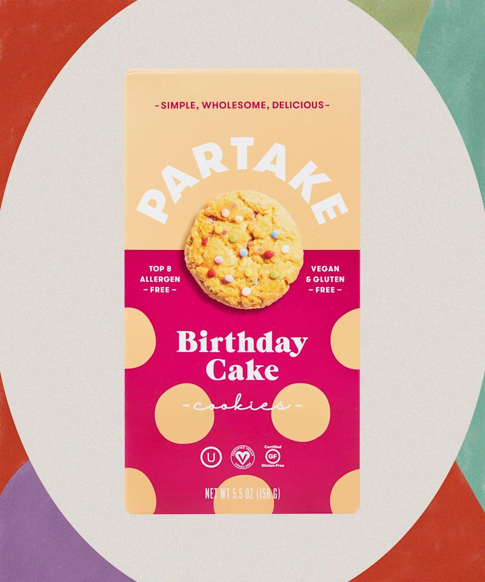 """Satisfy your sweet tooth during a TV binge with a healthier but equally delicious alternative. Who can say no to sprinkles?<br><br><strong>Partake</strong> Gluten Free Vegan Birthday Cake Cookies, $, available at <a href=""""https://go.skimresources.com/?id=30283X879131&url=https%3A%2F%2Fwww.target.com%2Fp%2Fpartake-gluten-free-vegan-birthday-cake-cookies-5-5oz%2F-%2FA-79474045"""" rel=""""nofollow noopener"""" target=""""_blank"""" data-ylk=""""slk:Target"""" class=""""link rapid-noclick-resp"""">Target</a>"""