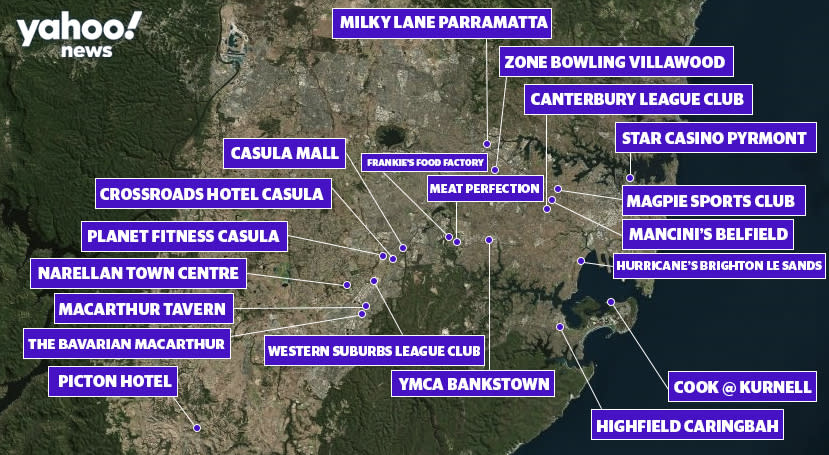 Map shows the locations in and around Sydney which have been impacted by a new coronavirus outbreak. Source: Yahoo News Australia