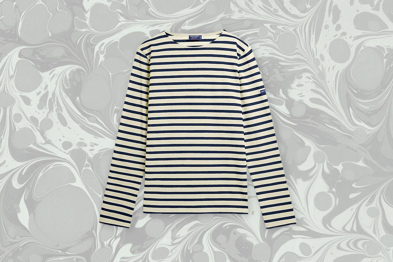 "<p>The Breton shirt is so timelessly, stylishly French that we once wrote an entire story dedicated to the <a href=""https://www.cntraveler.com/story/the-history-of-the-breton-shirt-from-sailors-to-chanel?mbid=synd_yahoo_rss"">history of it</a>—and everyone from Brigitte Bardot to Jean Paul Gaultier has worn the traditional striped sailor top since Coco Chanel set the trend in 1913. There's no shortage of options to buy, but no one designs the shirt quite as well as French atelier Saint James, which has been making them for 130 years. You can choose from a  range of color options, but we love the classic navy and white combo.</p> <p><strong>Buy Now:</strong> $79, <a href=""https://fave.co/2Yahxt4"" rel=""nofollow"">saint-james.com</a></p>"