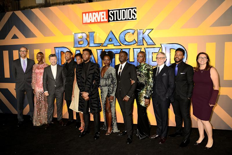 "The cast of the ""Black Panther"" movie. (Dave J Hogan via Getty Images)"