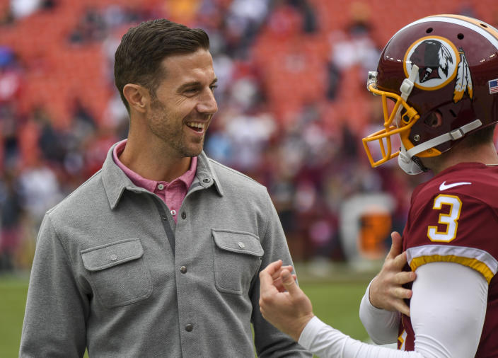 Newly retired QB Alex Smith is considering a career in broadcasting. (Photo by Jonathan Newton / The Washington Post via Getty Images)