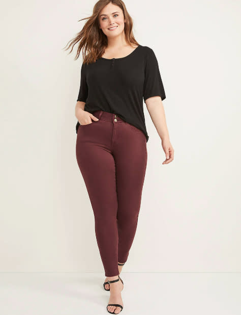 woman wearing wine colored pants