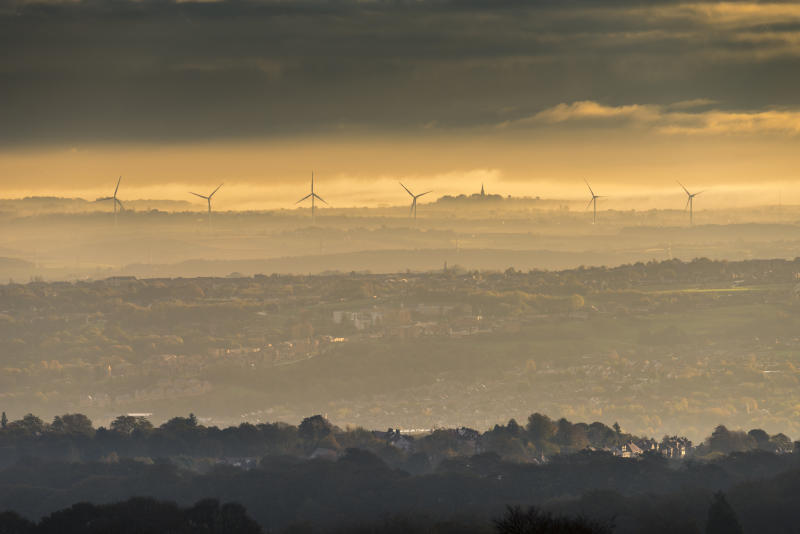 South Yorkshire and Rotherham, as seen from the Pennines on a stunning autumn morning with mist and golden light. UK