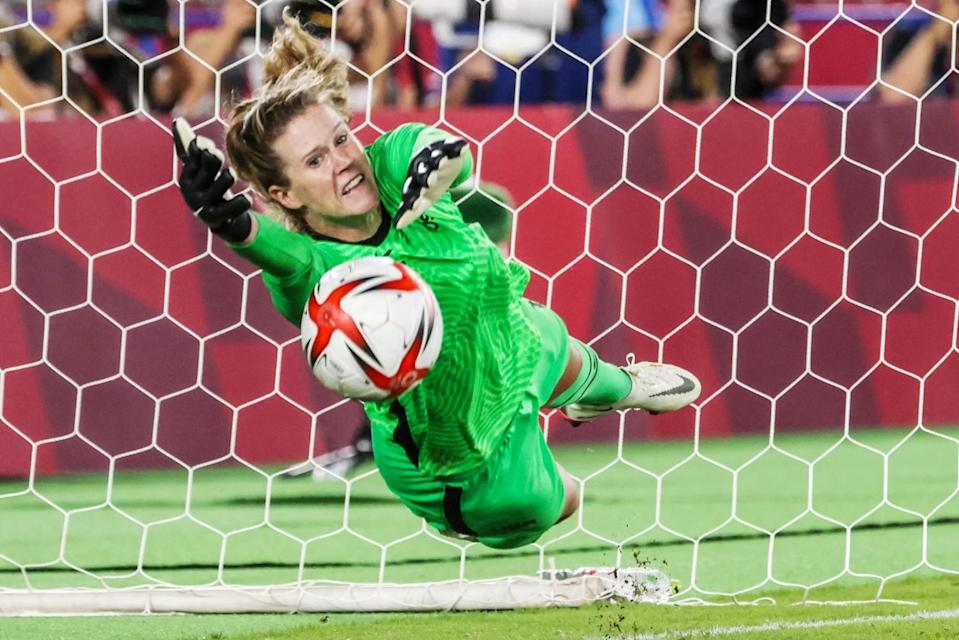 U.S. goalkeeper Alyssa Naeher makes a save on a shot by the Netherlands' Vivianne Miedema.