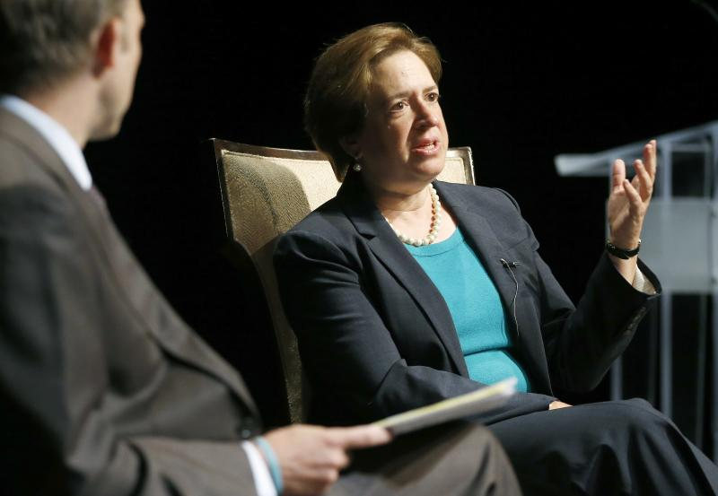United States Supreme Court Justice Elena Kagan, speaks with Brown University historian Ted Widmer during a forum at Chase Theater in Providence, R.I., Tuesday, Aug. 20, 2013. (AP Photo/Michael Dwyer)