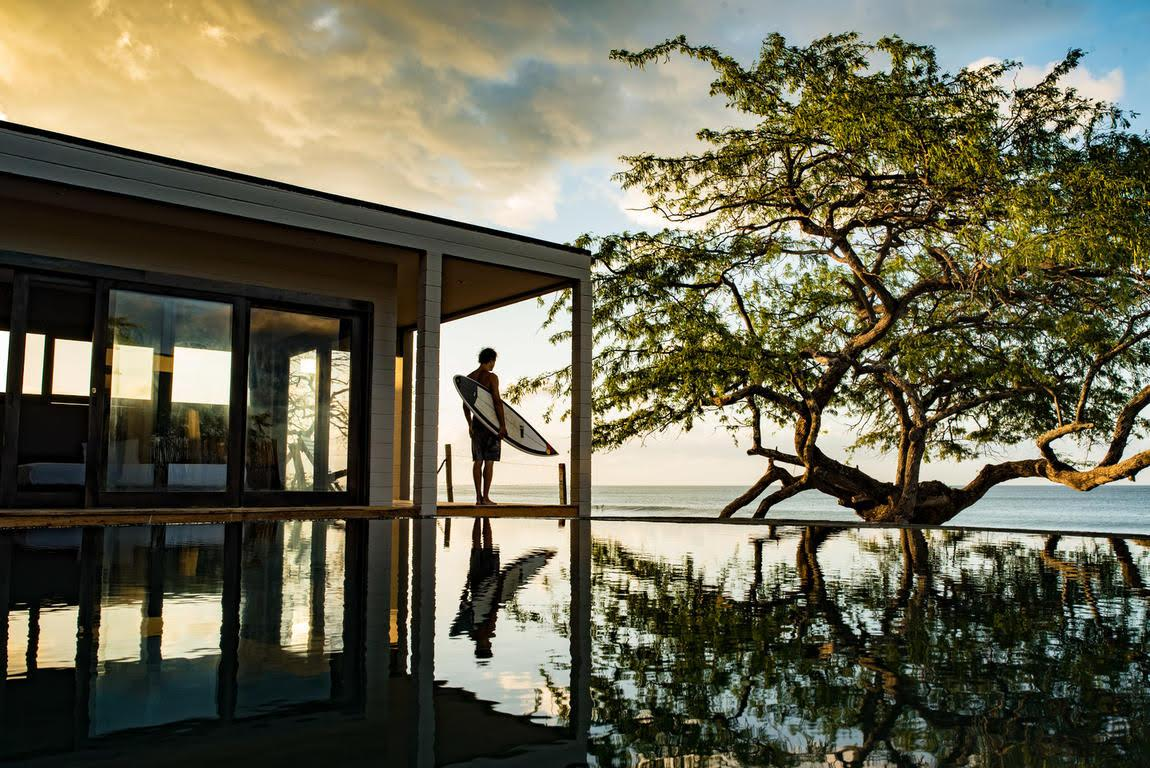 """<p>This eco-friendly beach front retreat, built entirely with local materials comes complete with a four-sided infinity pool and lots of glass windows to enjoy the dreamy ocean views. <a rel=""""nofollow"""" href=""""https://www.hostelworld.com/hosteldetails.php/99-Surf-Lodge/Popoyo/275302""""><em>Book here.</em></a> </p>"""