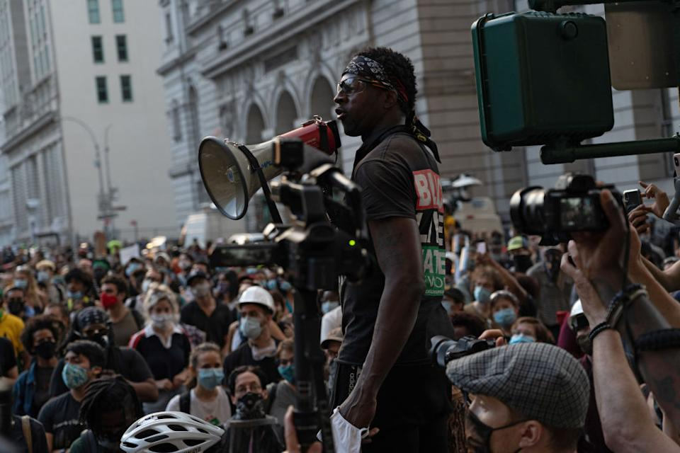 Protestors from Black Lives Matter and other groups gather outside New York City Hall. (Photo: Ron Adar/SOPA Images/LightRocket via Getty Images)