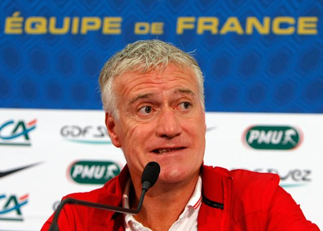 France's soccer team head coach Didier Deschamps attends a press conference, at the Allianz Riviera Stadium, in Nice, southeastern France, Saturday, May 31, 2014. France, which will face Paraguay on Sunday, is preparing for the upcoming soccer World Cup in Brazil starting on 12 June. (AP Photo/Claude Paris)