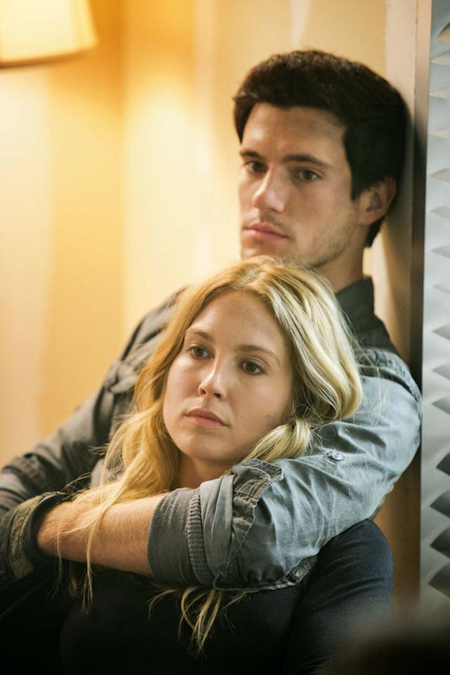 "Sarah Carter and Drew Roy in the ""Falling Skies"" Season 3 Premiere, ""On Thin Ice."""