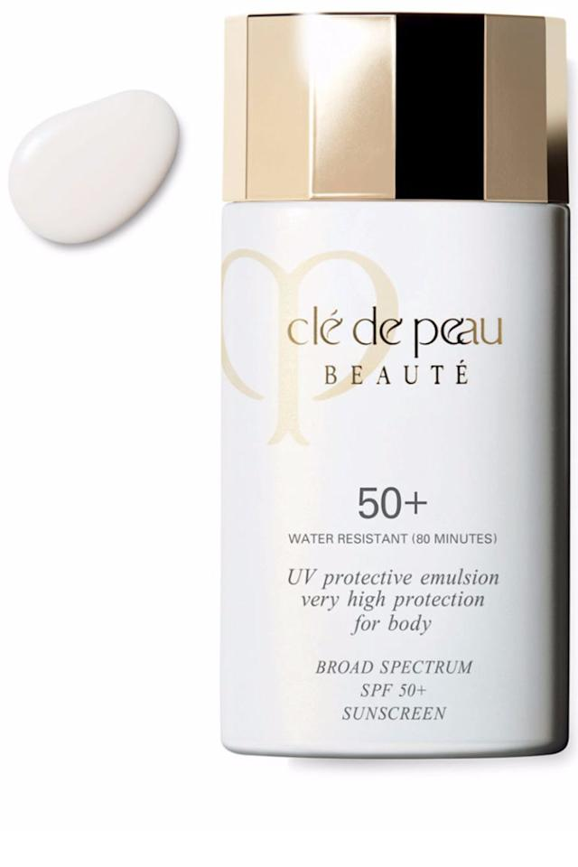 """<p>By far thesilkiest, most decadent body sunscreen to ever grace your skin, this formula is ideal for layering under your favorite summer dresses.</p><p><em>Clé de Peau Beauté UV Protective Emulsion 50+</em><span><em>, $80, <a rel=""""nofollow"""" href=""""https://www.cosbar.com/cle-de-peau-beaute-uv-protective-emulsion-high-protection-body-spf-50-730852133020?gclid=Cj0KEQjwk-jGBRCbxoPLld_bp-IBEiQAgJaftZKULDGsOEjFt2uoVrkXy_ntvqSGkfkP-hLS8iUCDP8aAthf8P8HAQ"""">cosbar.com</a>.</em></span><br></p>"""