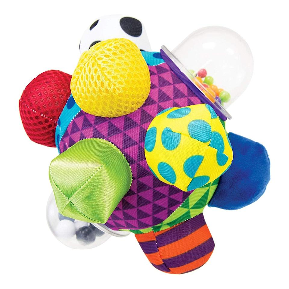 <p>There's so much going on with this <span>Sassy Developmental Bumpy Ball</span> ($10), so your baby is going to love it (and be kept busy!).</p>