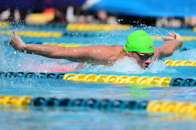 MESA, AZ - APRIL 14: Ryan Lochte competes in the Men 100 LC Meter Butterfly prelims at Skyline Aquatic Center on April 14, 2016 in Mesa, Arizona. (Photo by Jennifer Stewart/Getty Images)