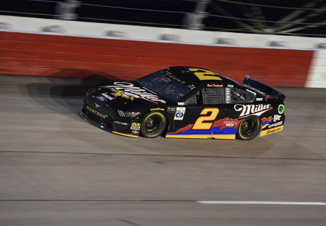 Brad Keselowski drives out of Turn 1 during a NASCAR Cup Series auto race on Sunday, Sept. 1, 2019, at Darlington Raceway in Darlington, S.C. (AP Photo/Richard Shiro)