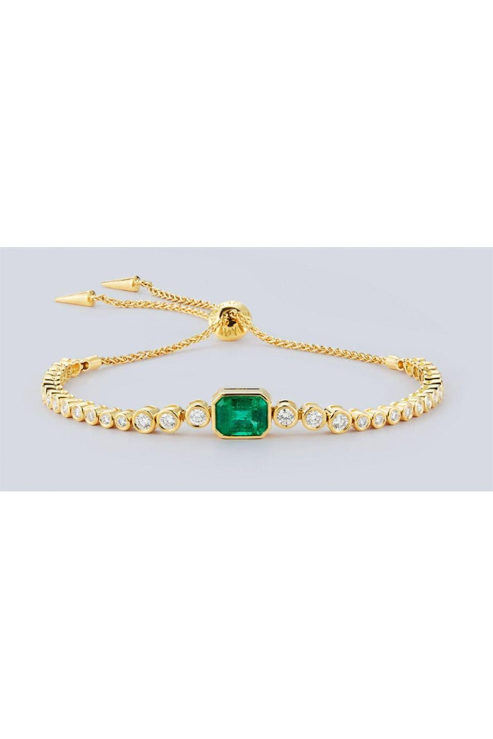 """<p><strong>Jemma Wynne</strong></p><p>jemmawynne.com</p><p><strong>$12915.00</strong></p><p><a href=""""https://jemmawynne.com/jewelry/prive-luxe-colombian-emerald-and-diamond-slider-bracelet/"""" rel=""""nofollow noopener"""" target=""""_blank"""" data-ylk=""""slk:Shop Now"""" class=""""link rapid-noclick-resp"""">Shop Now</a></p><p>Jemma Wynne created a stunning emerald moment—it can be worn casually, but those gems take your outfit to the next level.</p>"""