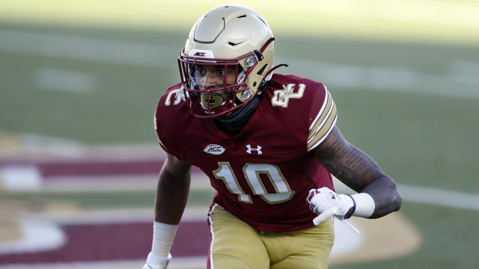 Boston College defensive back Brandon Sebastian plays against North Carolina during the first half of an NCAA college football game, Saturday, Oct. 3, 2020, in Boston. (AP Photo/Michael Dwyer)