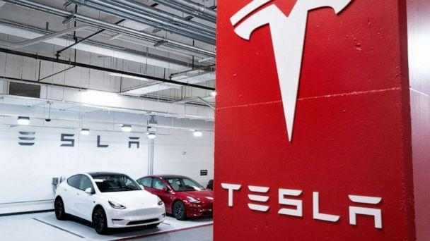 PHOTO: Tesla vehicles are seen charging in a garage in Washington, D.C., Feb. 8, 2021. (Michel Reynolds/EPA via Shutterstock)