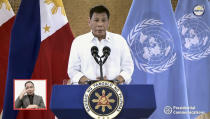 In this photo taken from video shown at United Nations headquarters, Rodrigo Roa Duterte, president of the Philippines, remotely addresses the 76th session of the U.N. General Assembly in a pre-recorded message, Tuesday Sept. 21, 2021. (UN Web TV via AP)