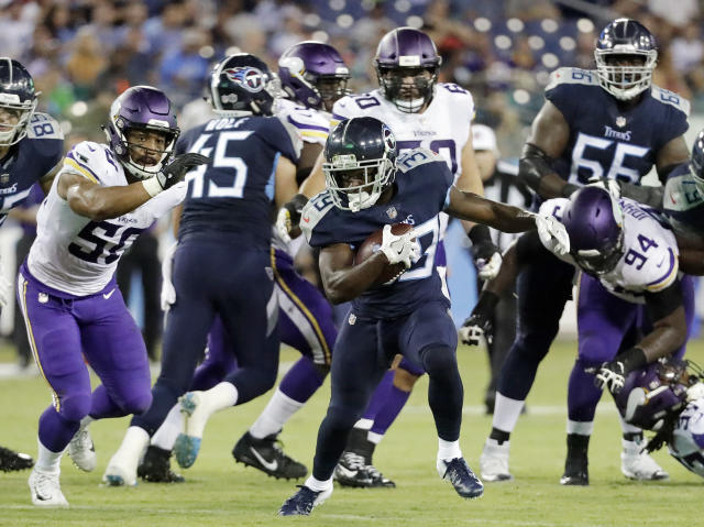 Tennessee Titans running back Dalyn Dawkins (39) carries the ball against the Minnesota Vikings in the first half of a preseason NFL football game Thursday, Aug. 30, 2018, in Nashville, Tenn. (AP Photo/James Kenney)