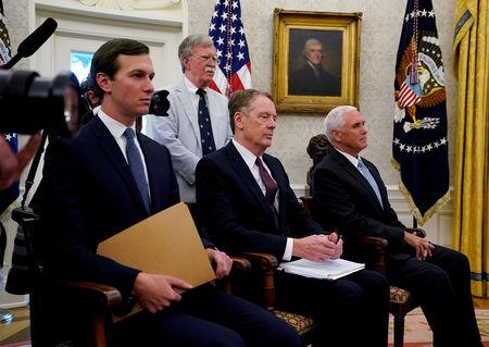 FILE PHOTO: (L-R) White House senior adviser Jared Kushner, national security adviser John Bolton, U.S. Trade Representative Robert Lighthizer and Vice President Mike Pence look on as U.S. President Donald Trump announces a deal to replace the North American Free Trade Agreement (NAFTA) at the White House in Washington, U.S., August 27, 2018.  REUTERS/Kevin Lamarque/File Photo