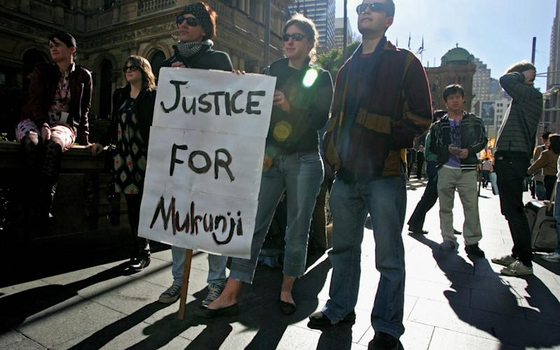 Australian activists are protesting for Mulrunji's justice at Sydney's Townhall, 22 June 2007 - Credit: AFP