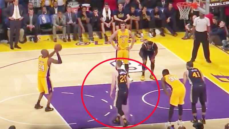 Gordon Hayward, pictured here stepping into the paint before Kobe Bryant took his shot for 60 points.