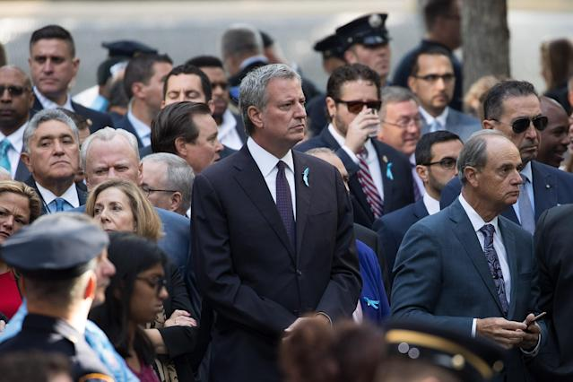 <p>New York City Mayor Bill de Blasio attends a commemoration ceremony for the victims of the Sept. 11 terrorist attacks at the National September 11 Memorial, Sept. 11, 2017 in New York City.(Photo: Drew Angerer/Getty Images) </p>