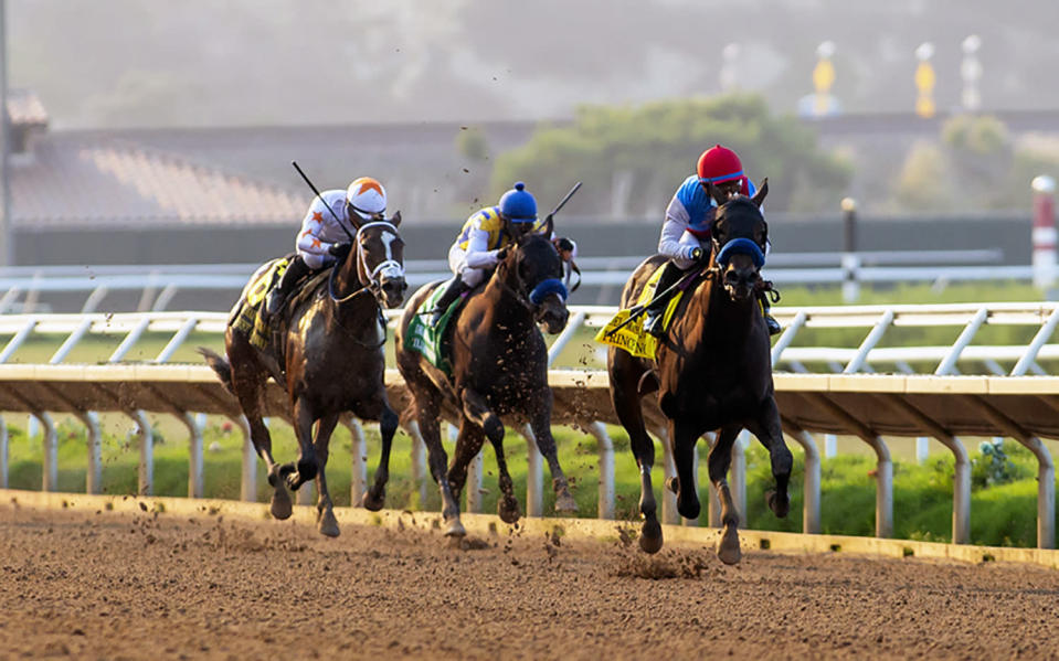 In a photo provided by Benoit Photo, Zedan Racing's Princess Noor and jockey Victor Espinoza, right, draw away and go on to win the Grade I $250,000 Del Mar Debutante horse race, Sunday, Sept. 6, 2020 at Del Mar Thoroughbred Club in Del Mar, Calif. (Benoit Photo via AP)