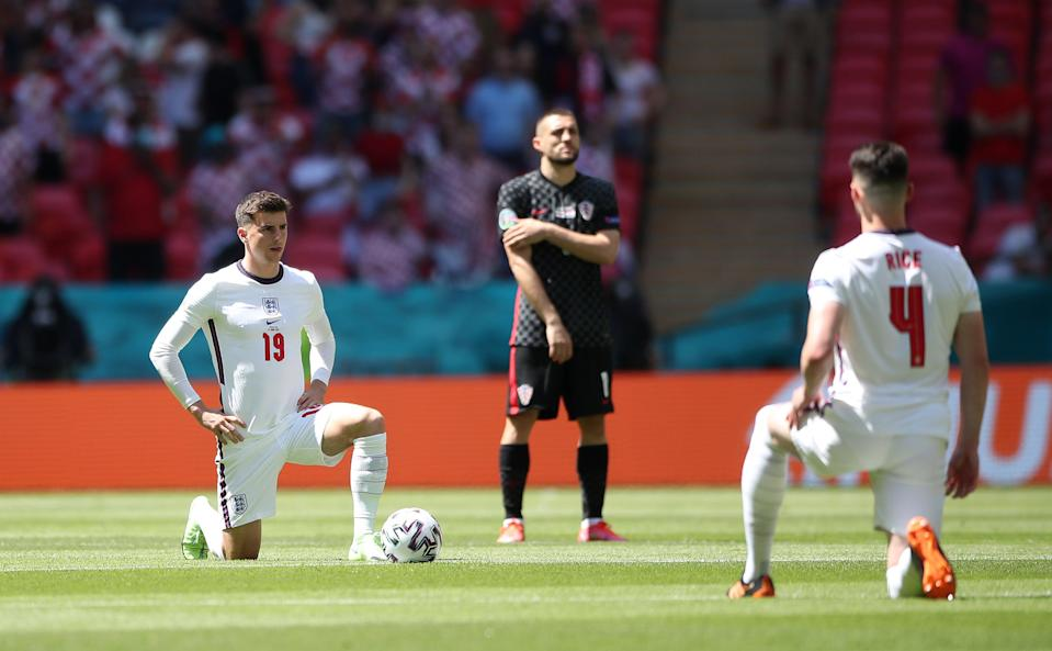 England players were booed for taking the knee by some fans at Wembley ahead of their game with Croatia (PA)